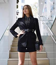 Пиджак с кожаным поясом