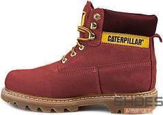 Зимние женские ботинки Caterpillar Boots Bordo с мехом