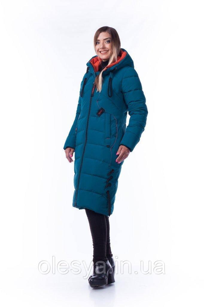 Пуховик зимний женский длинный молодежный на тинсулейте Алена Размер 52