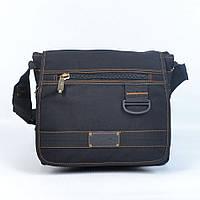 Модная молодежная брезентовая сумка через плечо GOLD BE! - Код 107 - (черная)