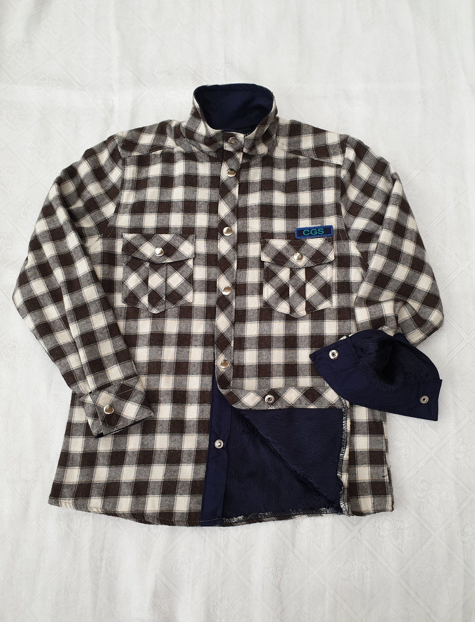 Рубашка теплая на меху 116,164 роста в клетку для мальчиков Чегиза