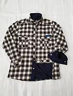 Рубашка теплая на меху 116,122,128,134,140,152,164 роста в клетку для мальчиков Чегиза