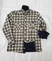 Рубашка в клетку на меху для мальчиков  122,128,134,140,146,152,158  роста оливка Чегиза