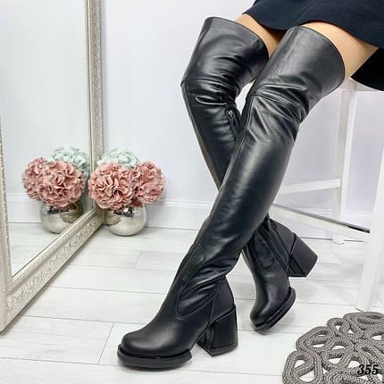 Зимние кожаные сапоги на каблуке, фото 2