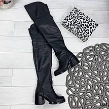 Зимние кожаные сапоги на каблуке, фото 3