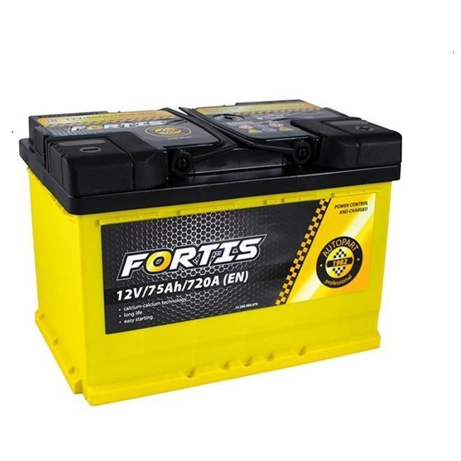 Аккумулятор автомобильный 6СТ-75Ач. 720A. FORTIS