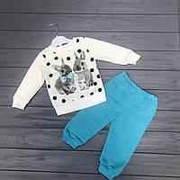 Детский комплект нарядный тёплый (флис) для девочек оптом р.1-3 года