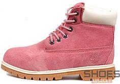 Зимние женские ботинки Timberland Boots Pink (Искусственный Мех)