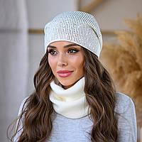 Женский осенний зимний набор шапка+баф  пряжа,50%шерсти, 50% акрил много цветов