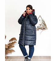 / Размеры 56-58,60-62,64-66 / Женская плотная, тёплая, зимняя куртка с подкладкой 8-196-Синий