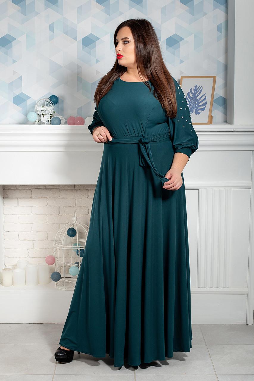 Платье мод 591-1,размер 52,54,56,58,60,62 бутылочное