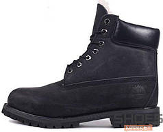 Зимние мужские ботинки Timberland Boots All Black (Натуральный Мех)