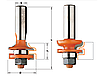 Набор фрез филенчатых (для мебельной обвязки) CMT 44,4х18-22х71хмм хв.12мм (арт. 991.502.11)