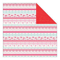 Бумага Authentique, Crush - Frilly Lace Stripe/Red Distress, 30x30 см, 1 шт