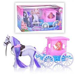 Карета с лошадкой, (голубой) 686-756