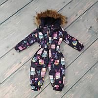 Зимний детский комбинезон с капюшоном и поясом для девочки (натур. мех, флис), рост 80-86
