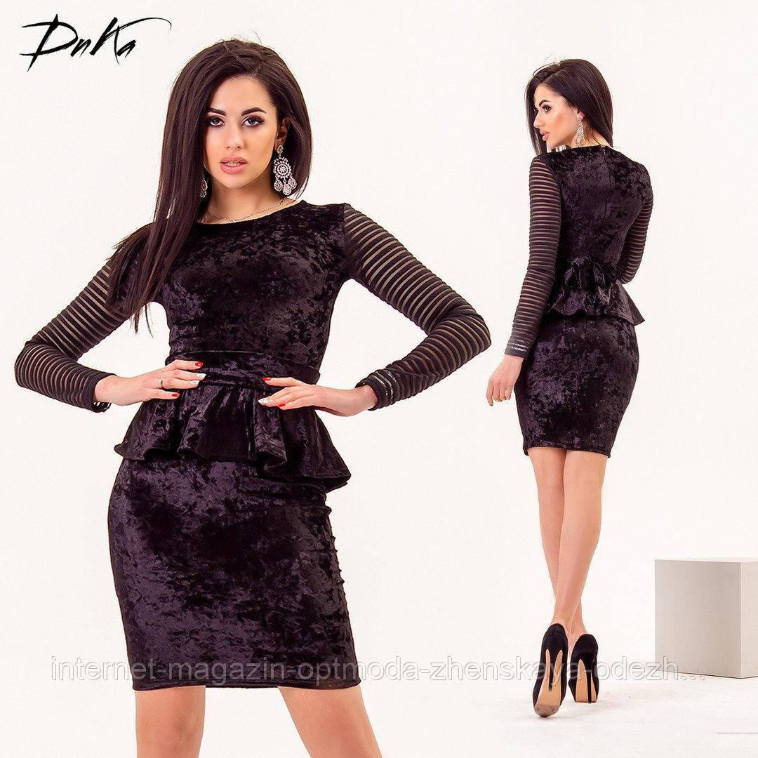 Оксамитове жіноча міні сукня з баскою, розміри: S, M, L, кольори - чорний, бордовий