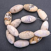 Бусины из натурального камня Яшма агатовая граненный биконус d-15х30+-мм нитка L-38+-см