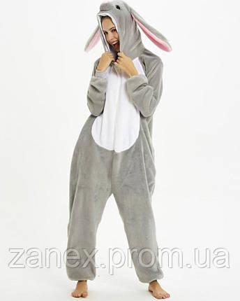Пижама Кигуруми Серый Заяц взрослая, фото 2