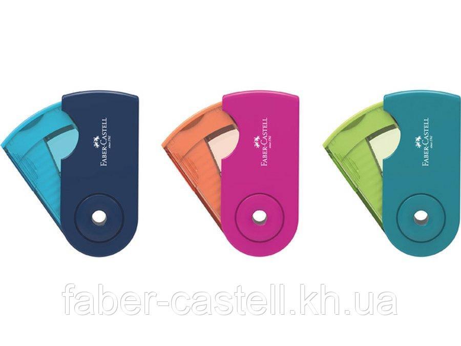 Точилка Faber-Castell Sleeve Mini Trend с контейнером на одно отверстие, двухцветная, 182714