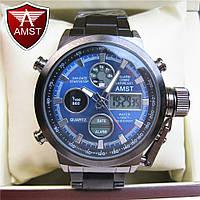 Часы военные водонепроницаемые 10 ATM AMST 3003 (Кварц) Black/Blue. ОРИГИНАЛ 100% МОЖНО ПЛАВАТЬ!