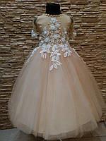 Нарядное детское платье с прозрачной спинкой на 4-7 лет, фото 1