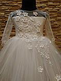 Сукня дитяча святкова з рукавом на 3-5 років біла, фото 2