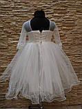 Сукня дитяча святкова з рукавом на 3-5 років біла, фото 3