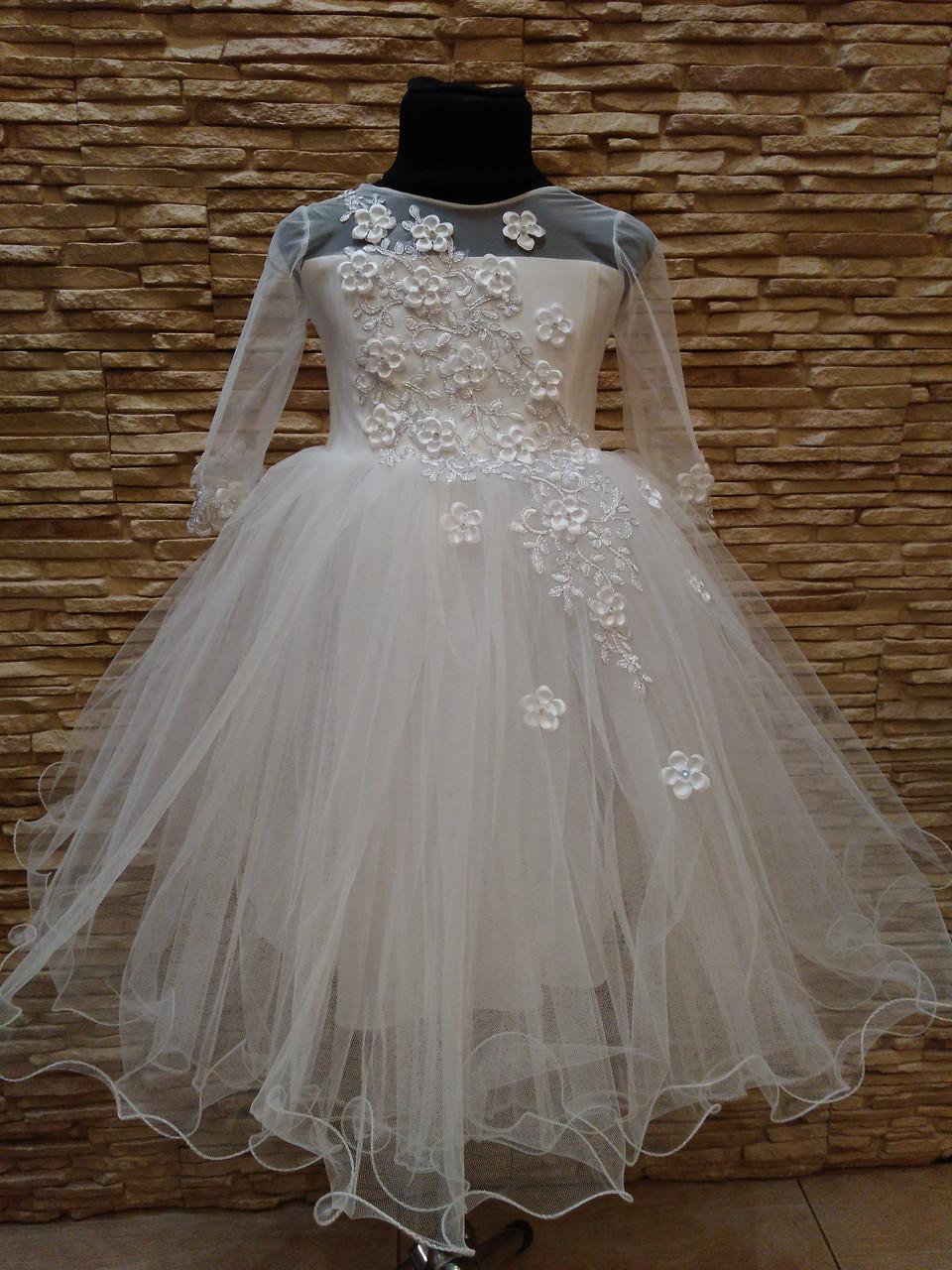 Сукня дитяча святкова з рукавом на 3-5 років біла