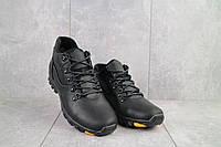 Зимние мужские ботинки из натуральной кожи Yuves черные