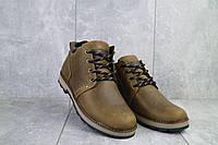 Зимние мужские ботинки Yuves 781 оливковые из натуральной кожи