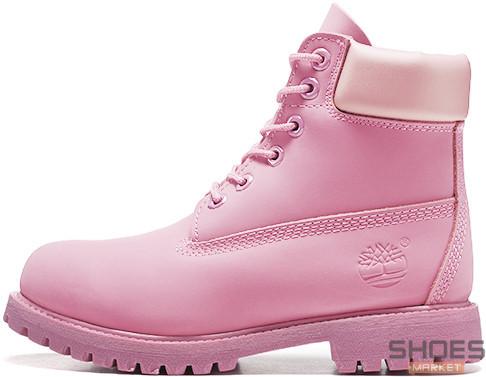 Зимние женские ботинки Timberland Boots Pink (Натуральный мех)