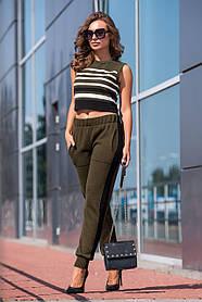 Вязаные брюки с лампасами (хаки, черный) Размер oversize 44-48