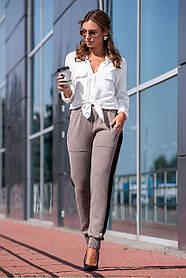 Вязаные брюки с лампасом (капучино, черный) Размер oversize 44-48