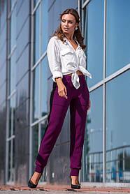 Вязаные брюки с лампасом (темная фуксия, черный) Размер oversize 44-48