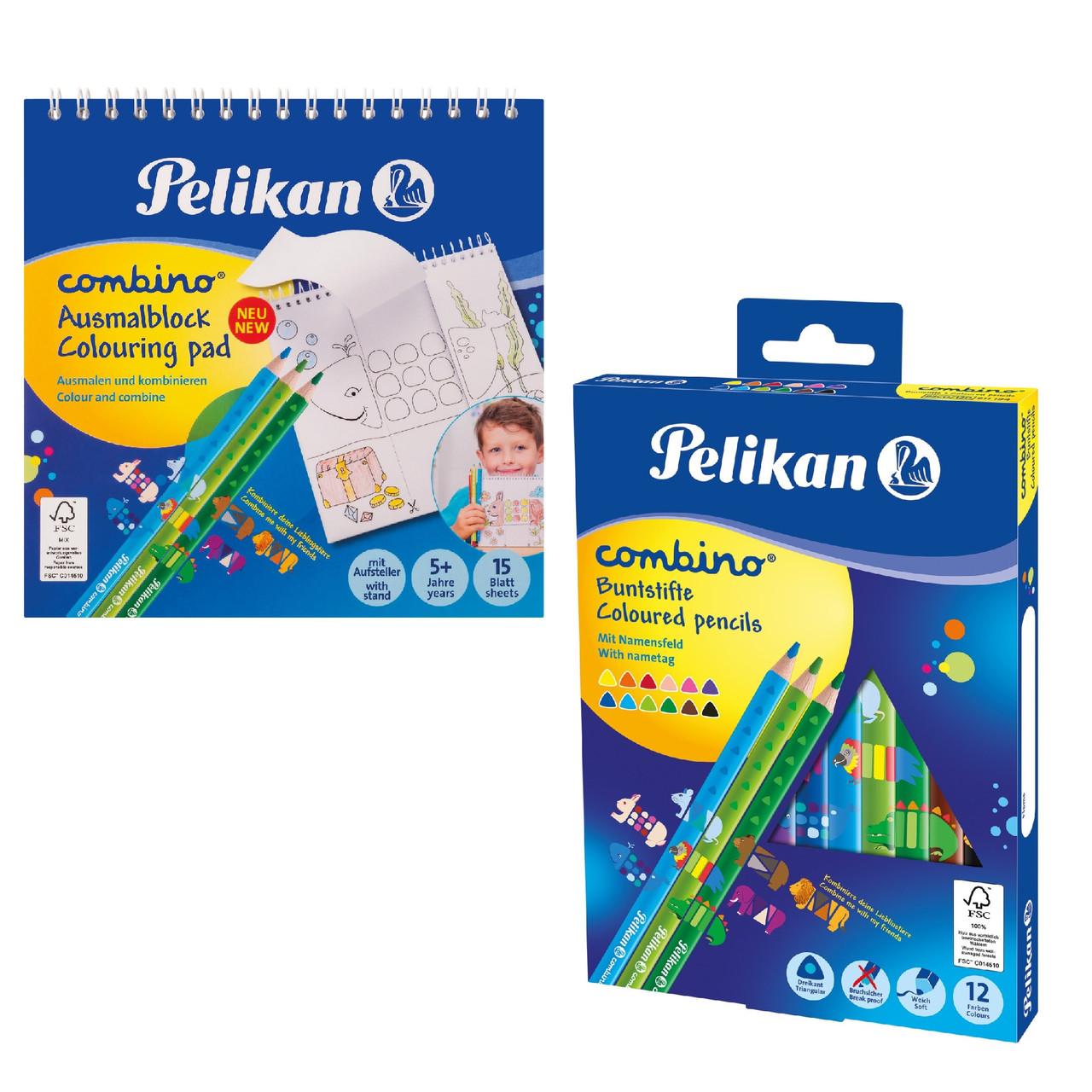 Набір Pelikan Combino кольорові олівці 12шт + розмальовка