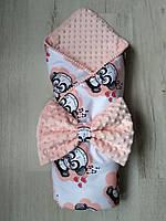 Конверт-одеяло девочке Пандочки в пудре, польский хлопок, плюш