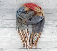 Объемный мохеровый шарф-плед, палантин Ginoer 7780-2 клетка, расцветки