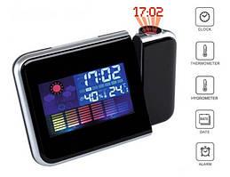 Часы-метеостанция настольный с проектором времени DS-8190