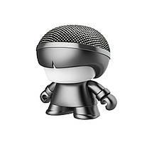 "Акуст. система XOOPAR серии ""Металлик"" - Mini XBOY (7,5 cm,сер.,Bluetooth,USB-каб,подсв., ремешк.), фото 1"