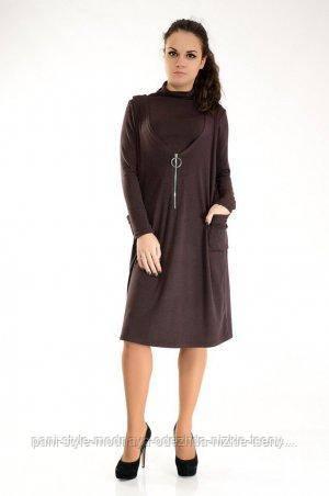 Костюм жіночий двійка гольф + сарафан теплий ефектний коричньового кольору, костюм молодіжний красивий