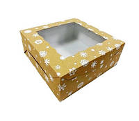 Коробка для торта, 250Х250Х100 мм, крафт снежинка, фото 1