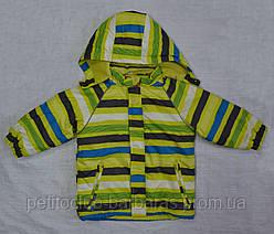 Куртка зимняя Loustic в полоску зеленая (р. 80 см, 98 см) (QuadriFoglio, Польша)