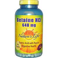 Nature's Life, Бетаин гидрохлорид (Betaine HCl), 648 мг, 250 капсул
