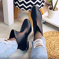 Резиновые утепленные черные ботиночки внутри с теплым флисовым носочком (ящ)