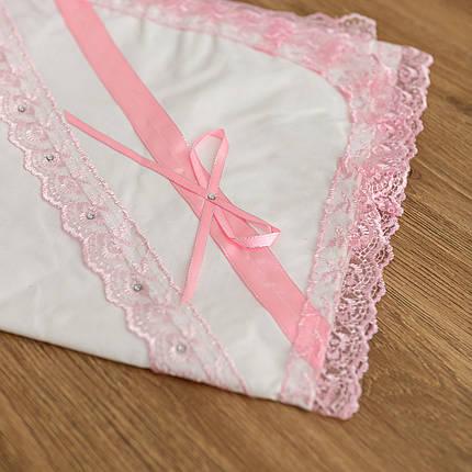 Крыжма для крещения с розовым кружевом бязь, фото 2