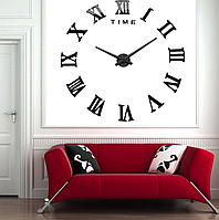 Большие зеркальные часы Римские цифры Black, фото 1
