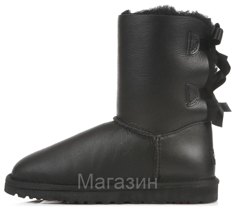 Женские угги UGG Bailey Bow Leather Black короткие угги угг австралия оригинал черные