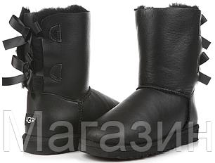Женские угги UGG Bailey Bow Leather Black короткие угги угг австралия оригинал черные, фото 2