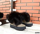 Шикарные зимние женские ботинки с песцовой опушкой, капучиновые, фото 3
